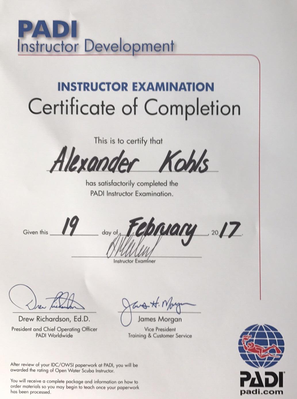 PADI IE certificate